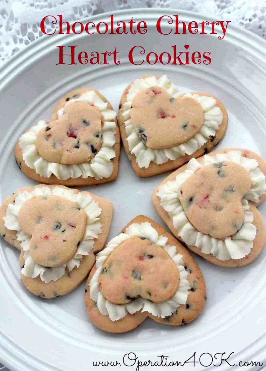 chocolate cherry heart cookies