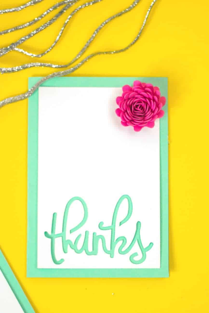 homemade card with pink flower