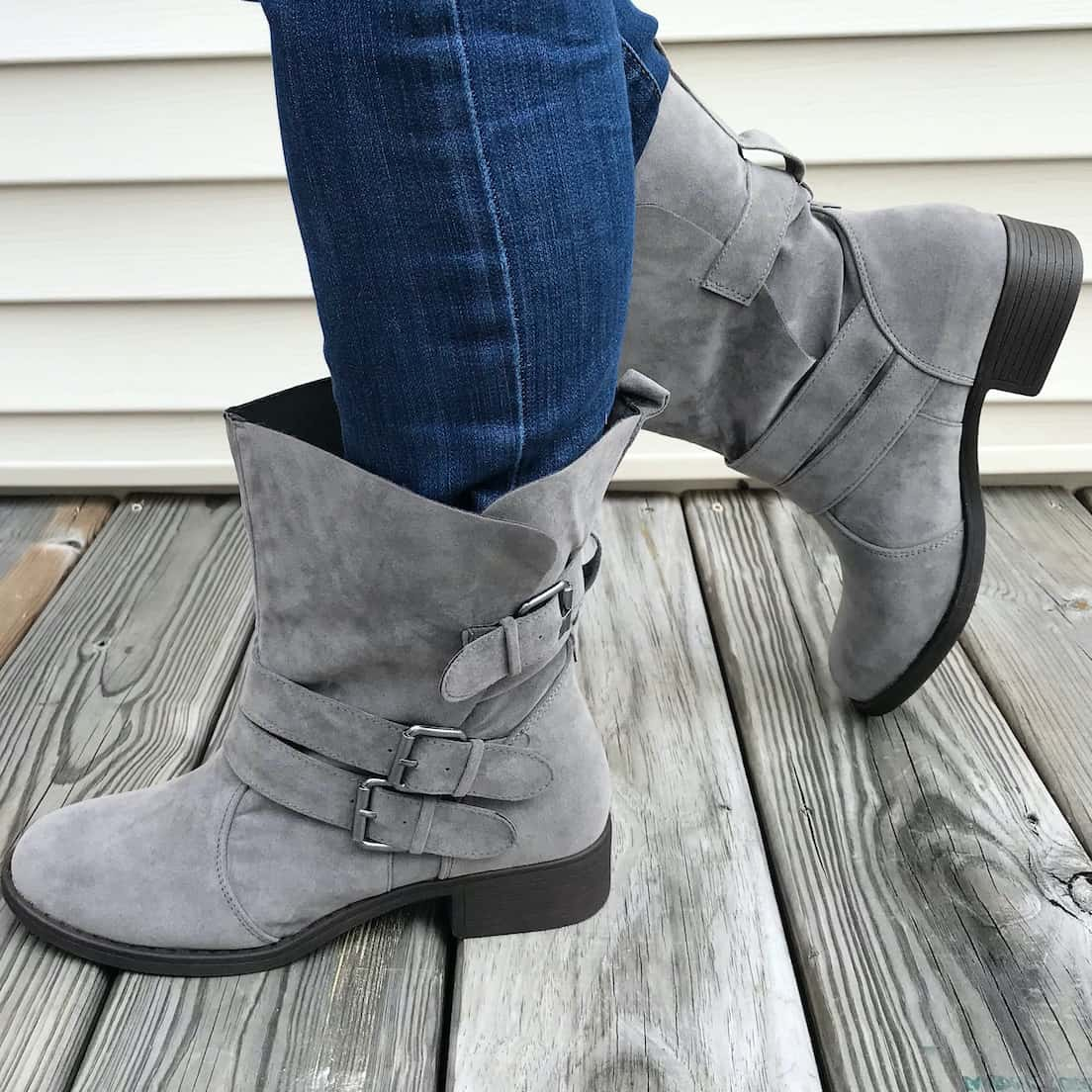 grey boots from just fab
