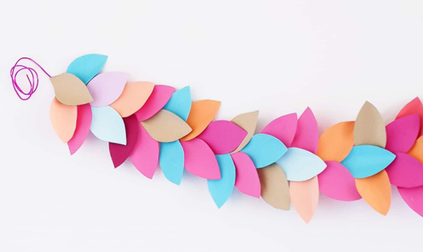 leaf shaped party garland in easter colors