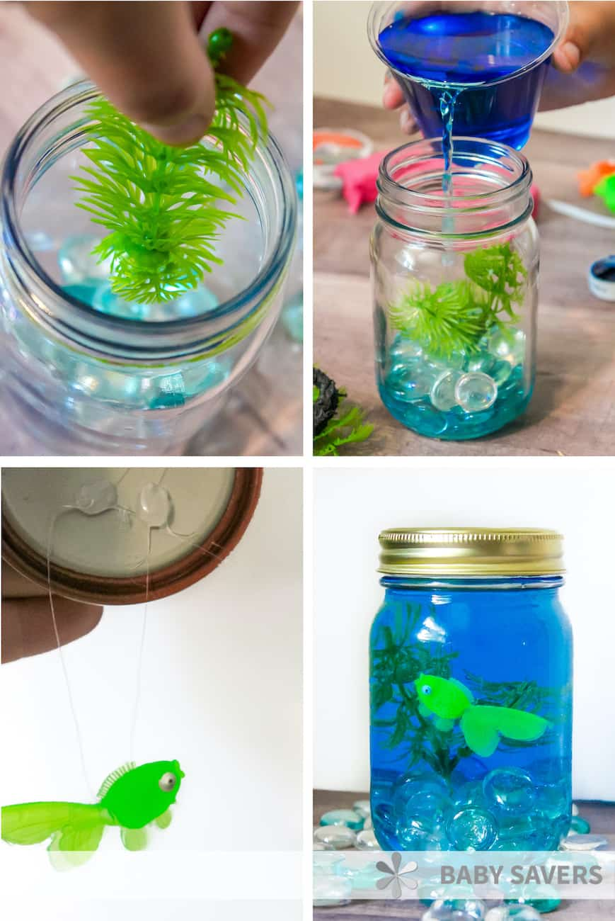 Mason jar aquarium tutorial step by step
