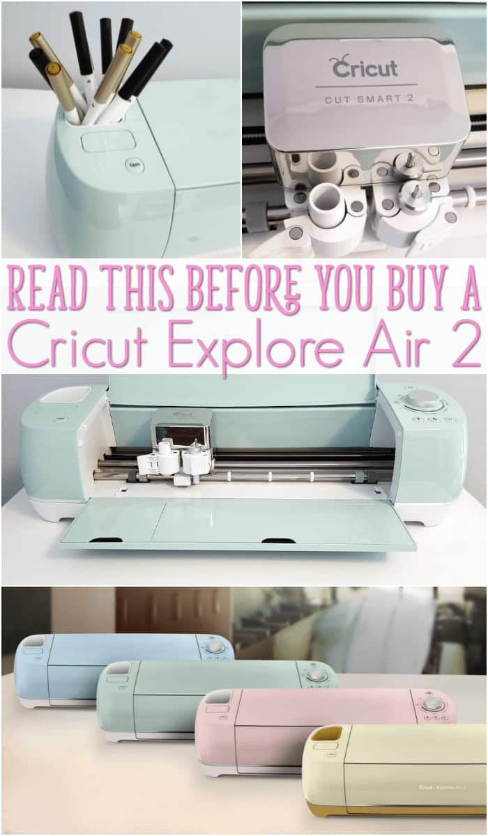 cricut explore air 2 review long image with green, pink gold and blue Explore Air 2 machines