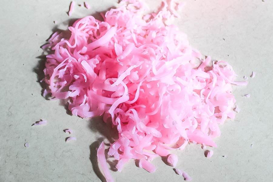 pile of pink grated soap