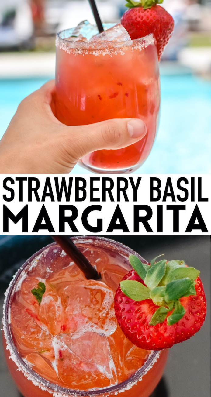 Strawberry basil margarita pin with words overlay