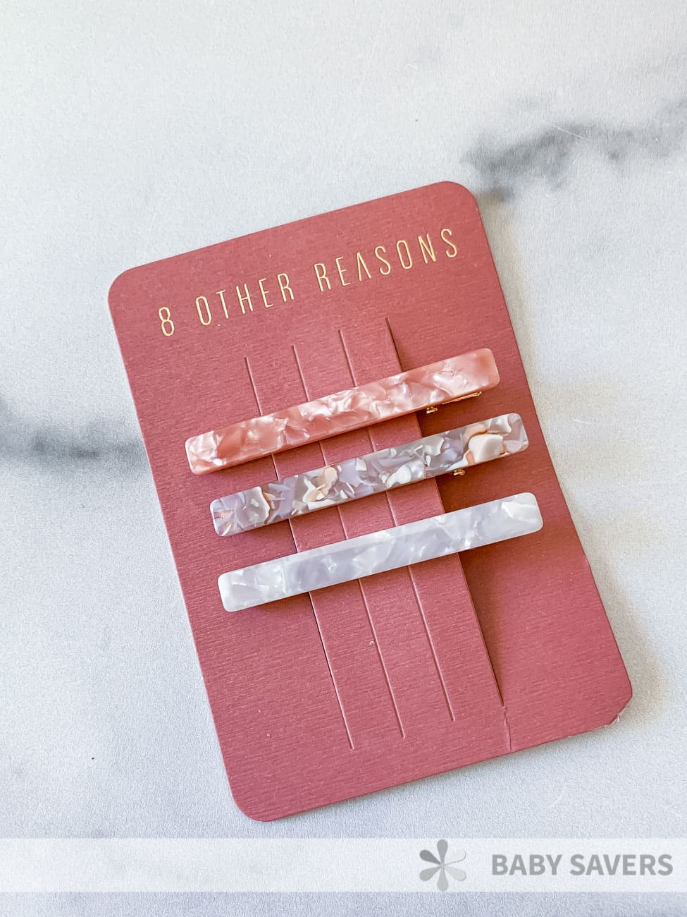 3 hair clips with marble design