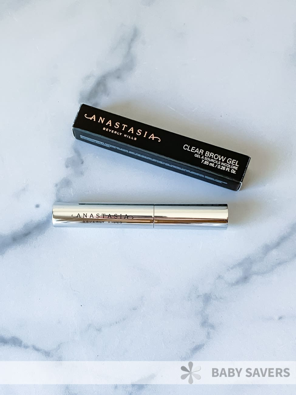Anastasia Beverly Hills Clear Brow Gel silver tube and black box