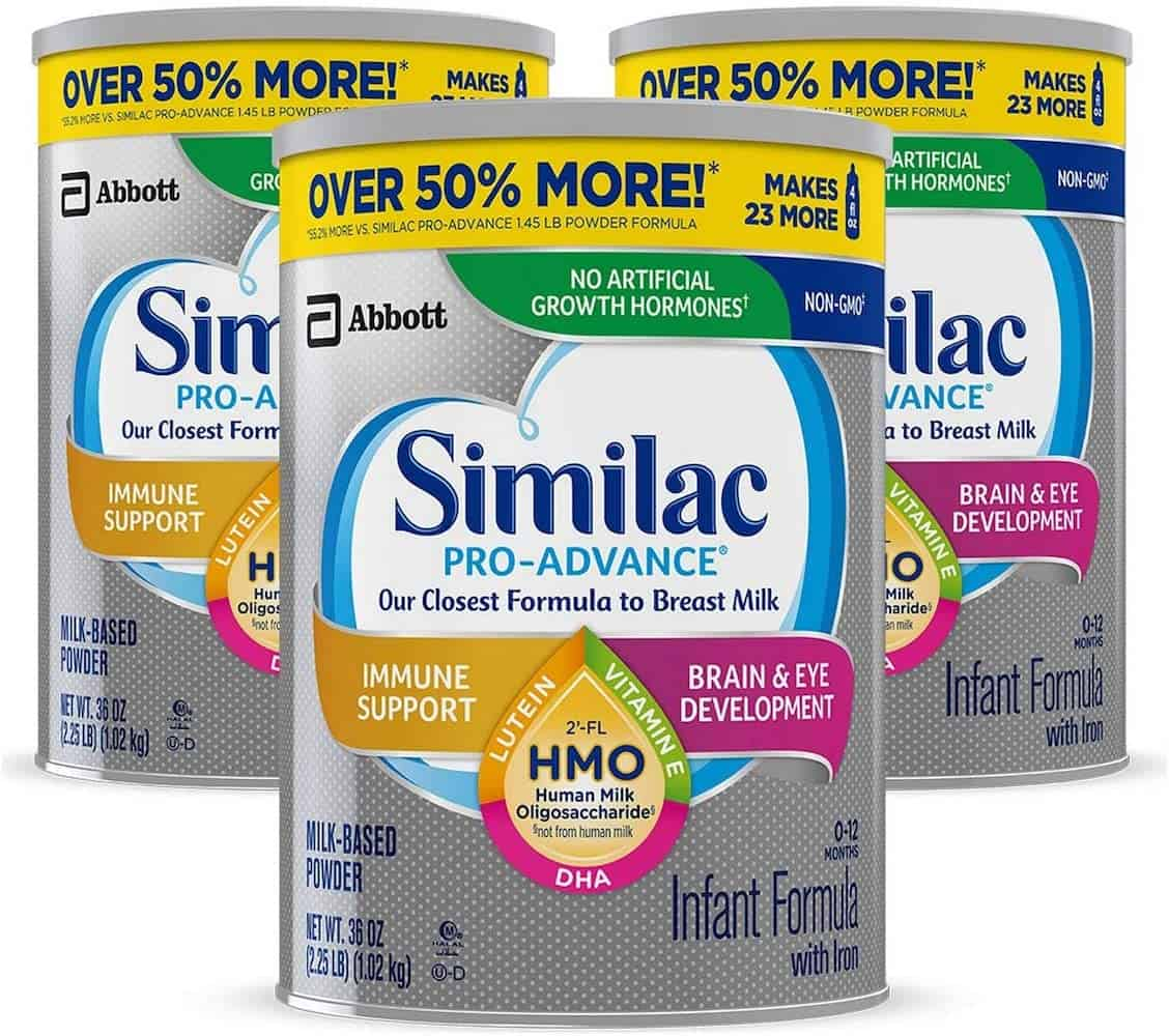 Similac Pro Advance - 3 silver cans with grey lids