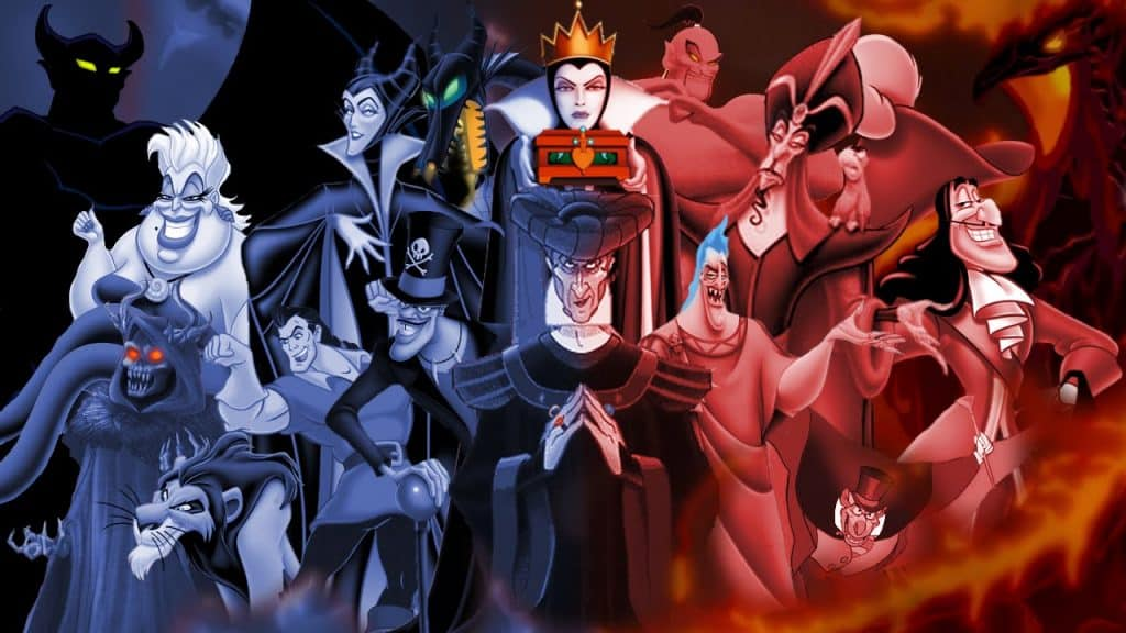 crowd of disney villains in purple and red tints