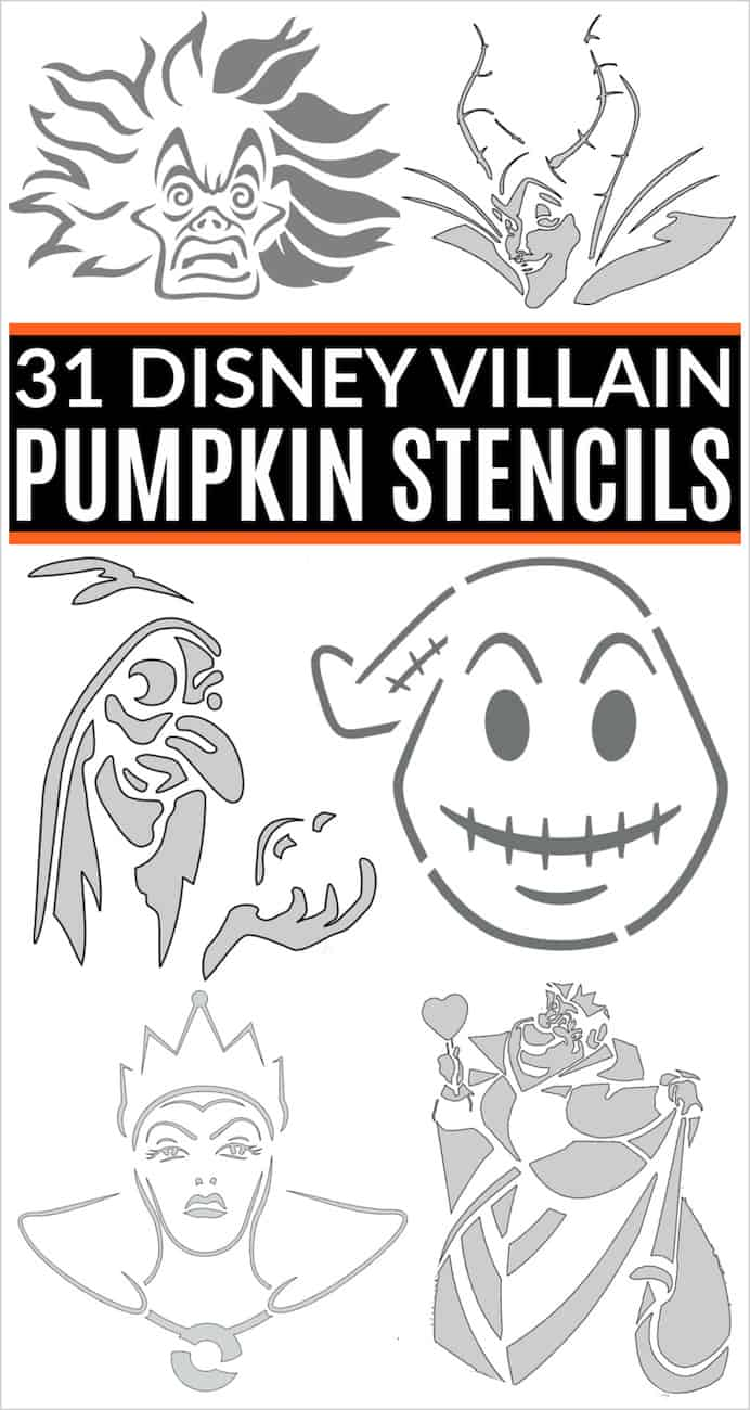Disney villain pumpkin stencils with cruella de vil, maleficent, Oogie Boogie, the old woman, the evil queen, the queen of hearts and other printable pumpkin patterns!