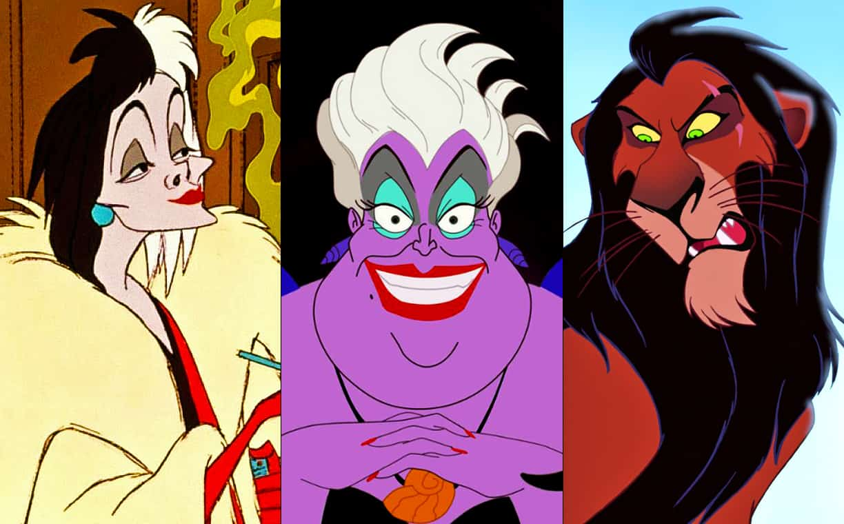 Cruella de Vil Ursula and Scar images lined up