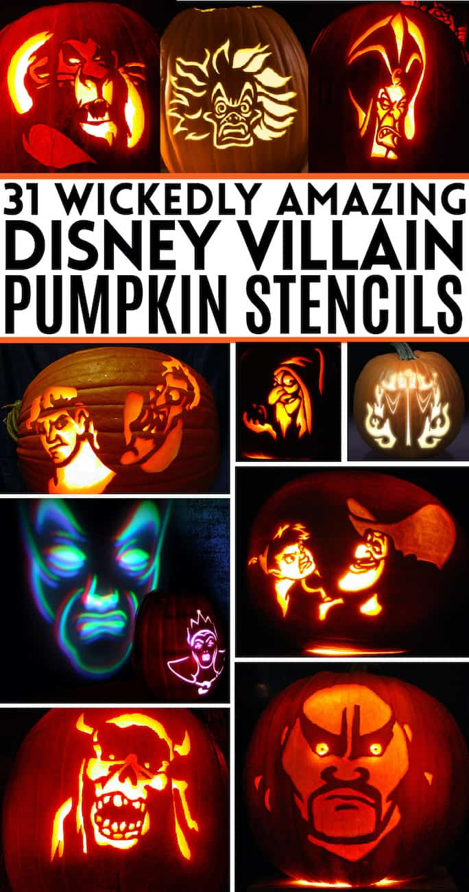 Collage of carved pumpkins made with Disney villain pumpkin stencils