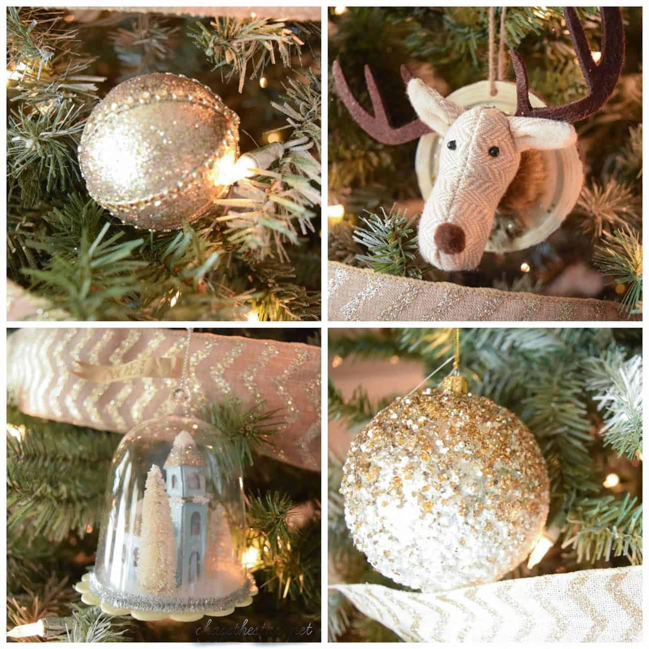 Gold and white Christmas tree with gold and white ornaments