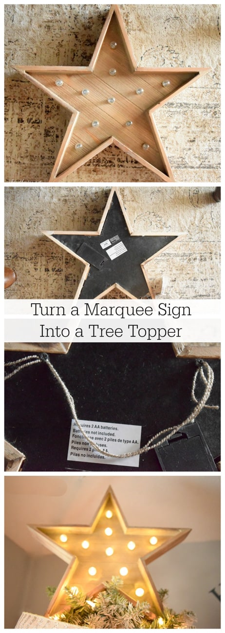How to turn a sign into a homemade Christmas tree topper