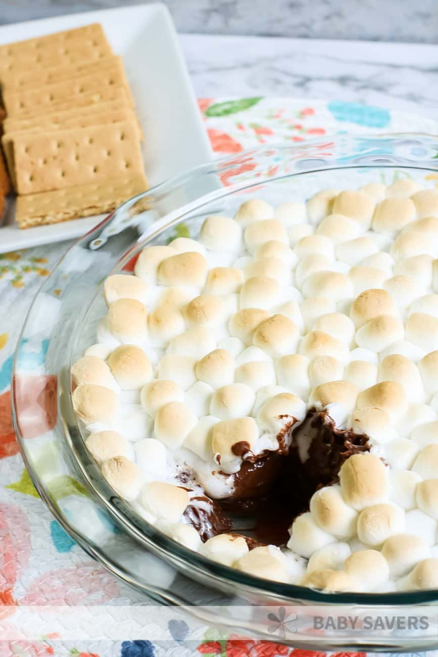 S'mores dip with melted chocolate and toasted marshmallows