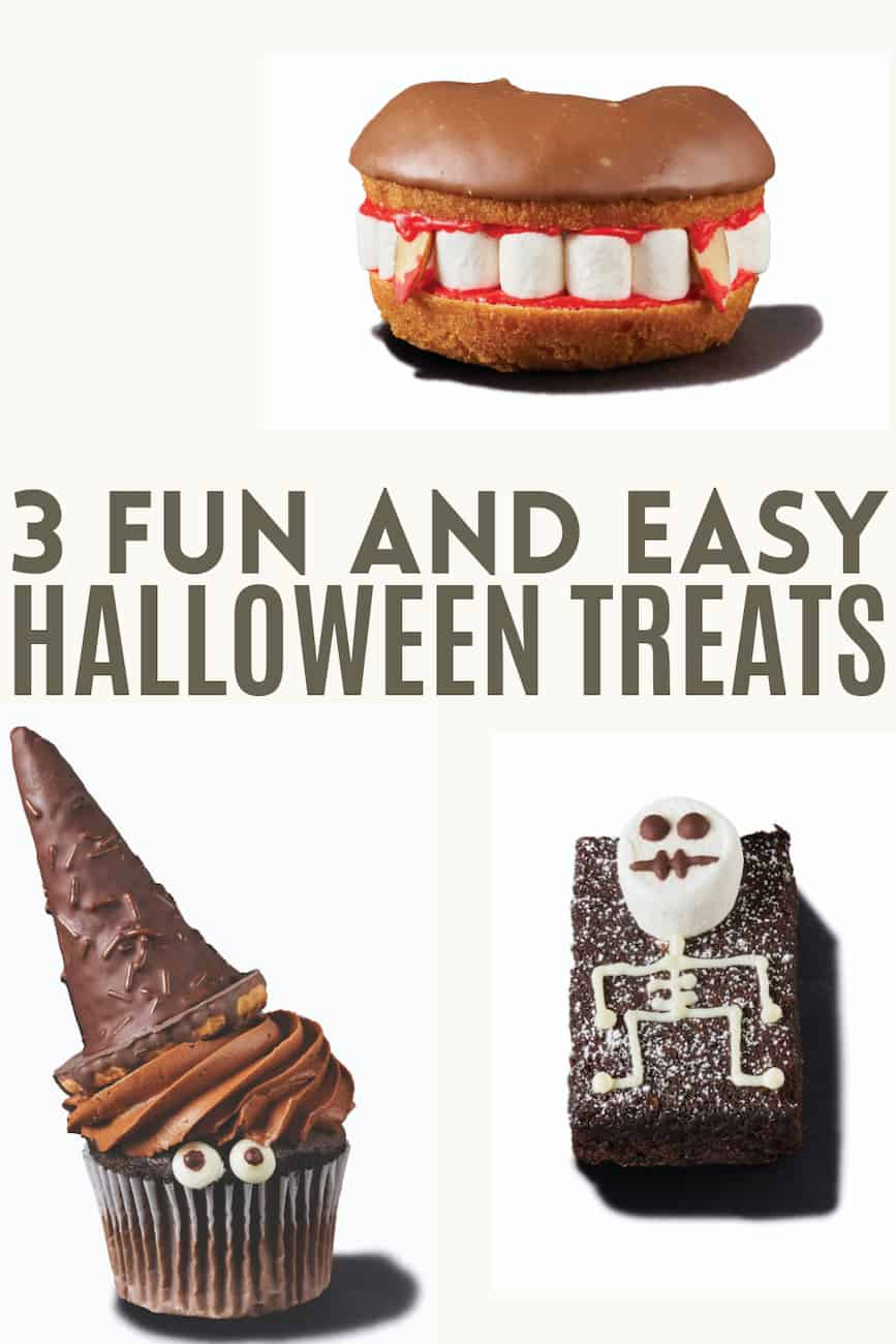 fun and easy halloween treats with donuts, ice cream cones and brownies.