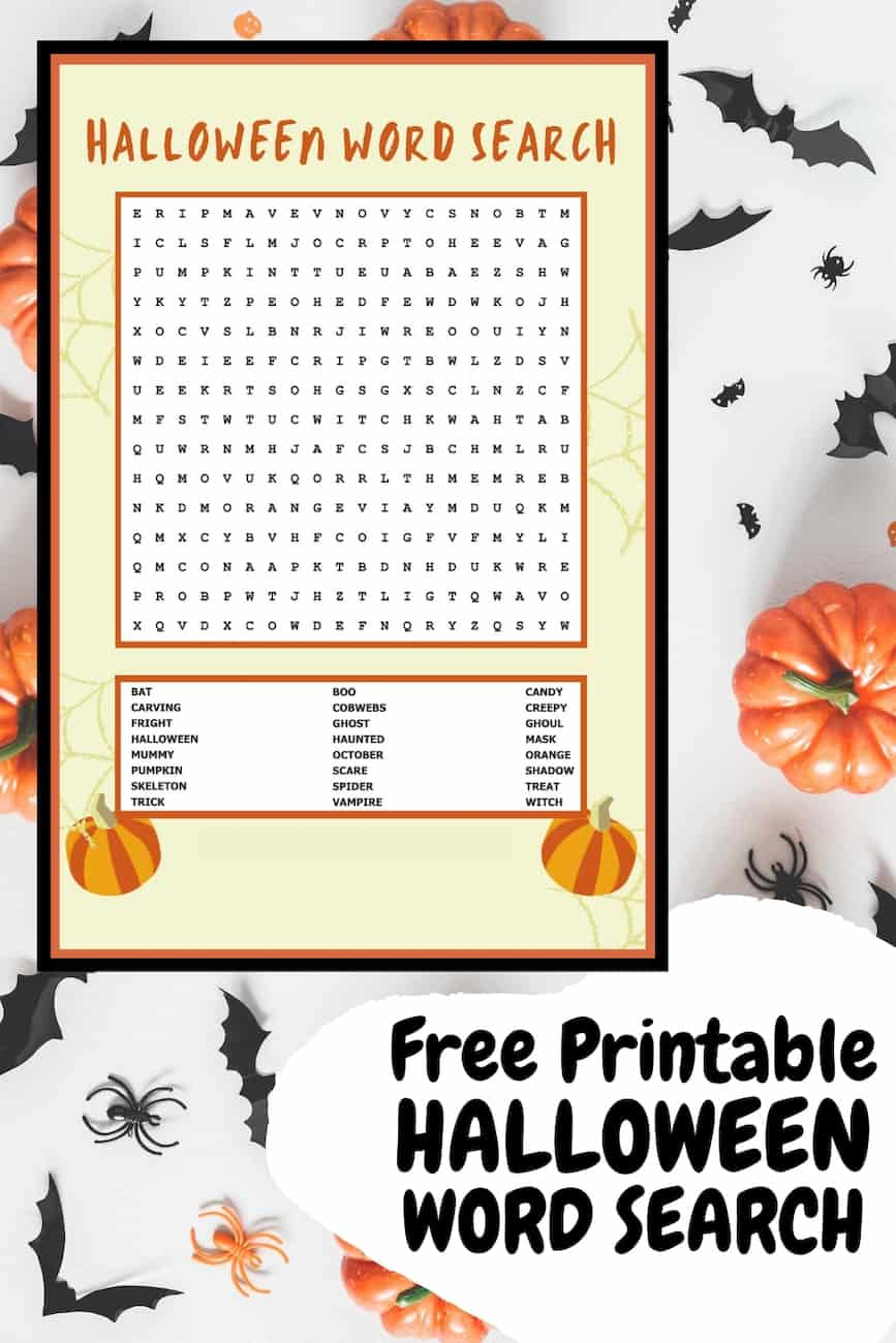 Halloween word search printable on background with bats and pumpkins