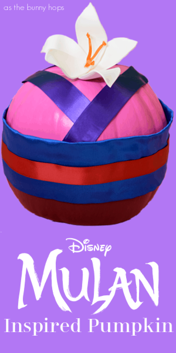 Mulan painted pumpkin with a robe and flowers
