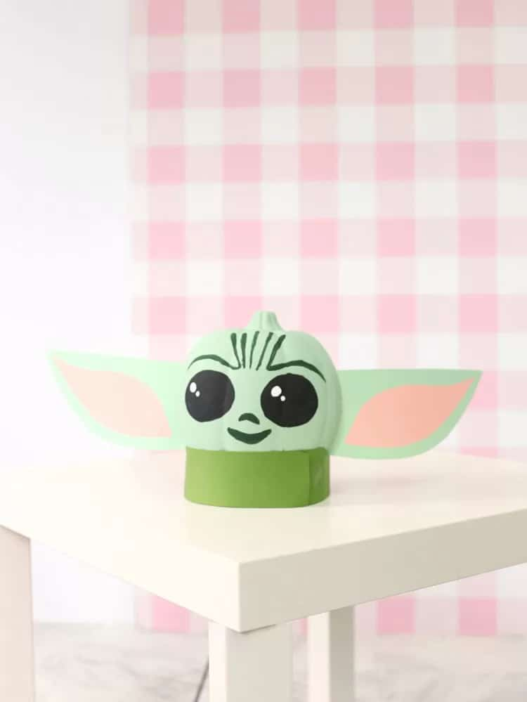 Baby Yoda painted pumpkin
