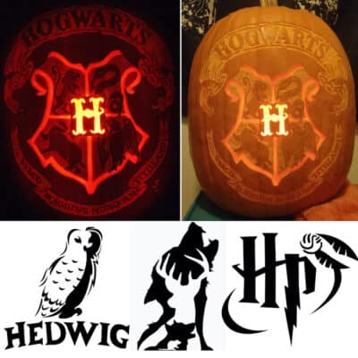 Harry Potter pumpkin stencils with the Hogwarts crest carved onto a pumpkin, plus Hedwig the owl, the Marauders and the Harry Potter logo with the golden snitch
