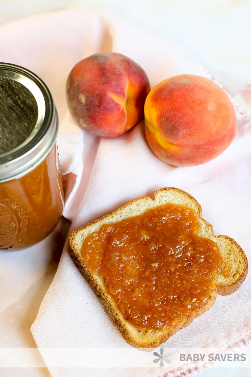 Toast with peach spread on it