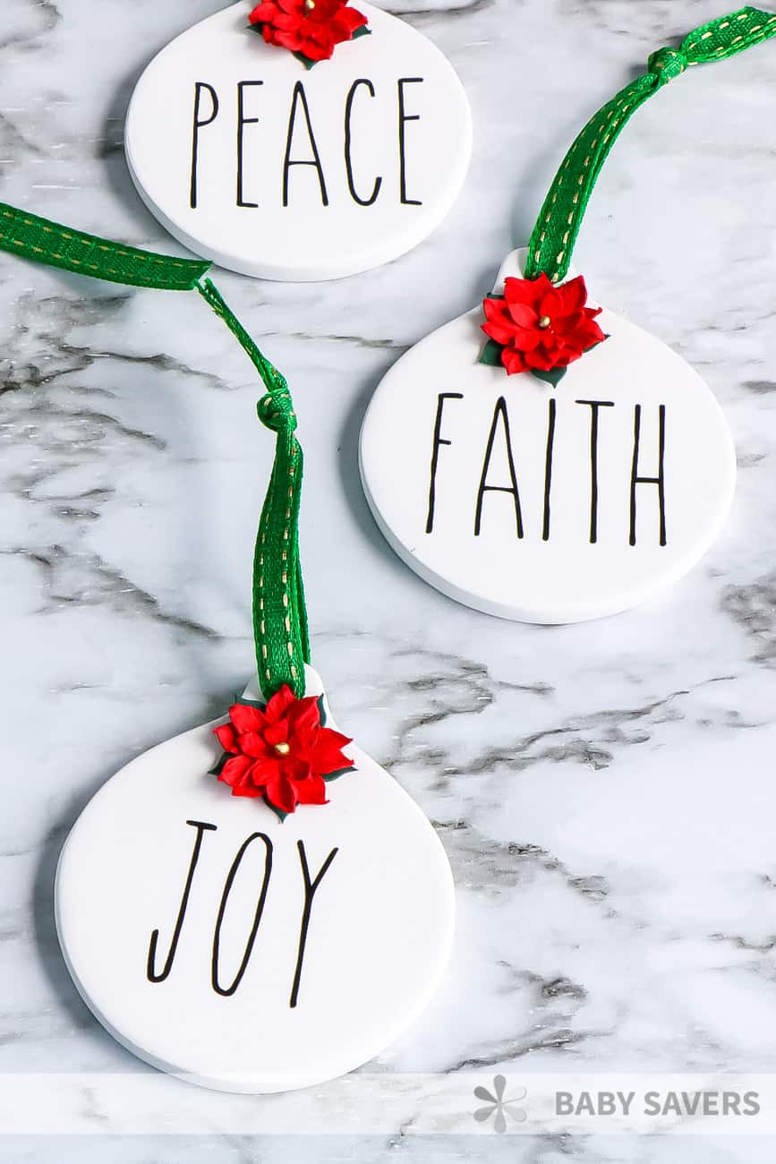 Homemade Rae-Dunn ornaments with Peace, Faith and Joy
