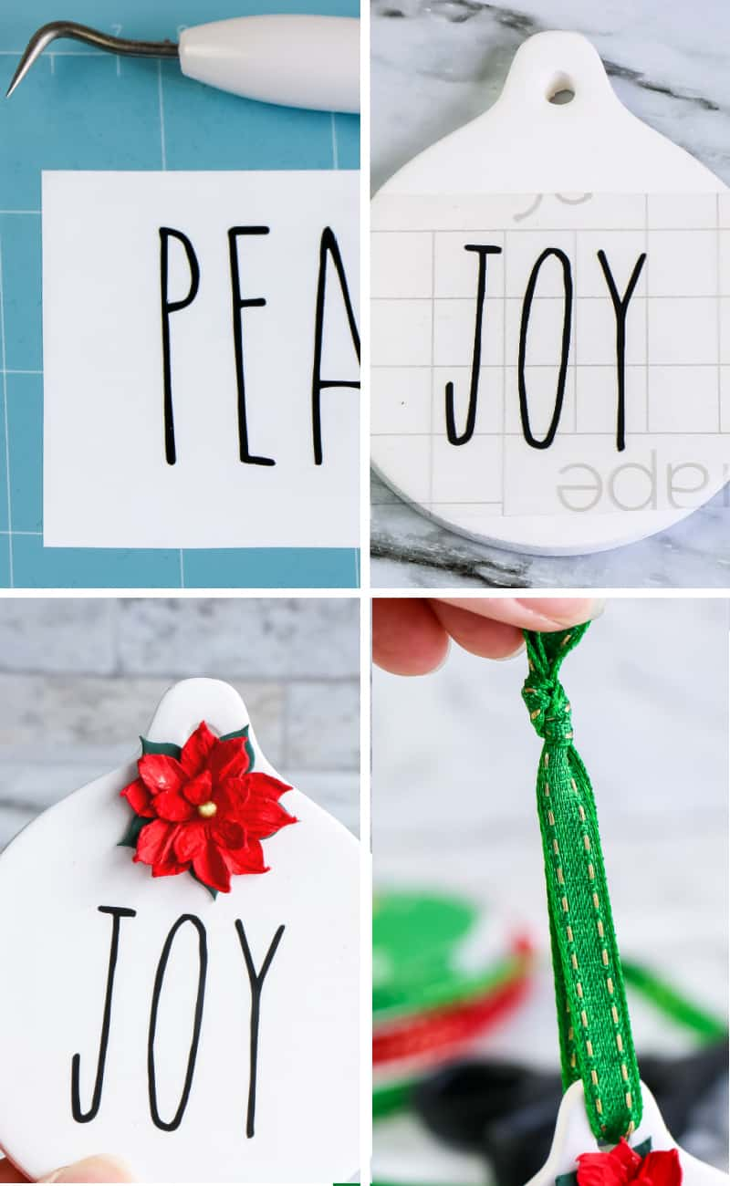 DIY tutorial Rae Dunn inspired christmas ornaments