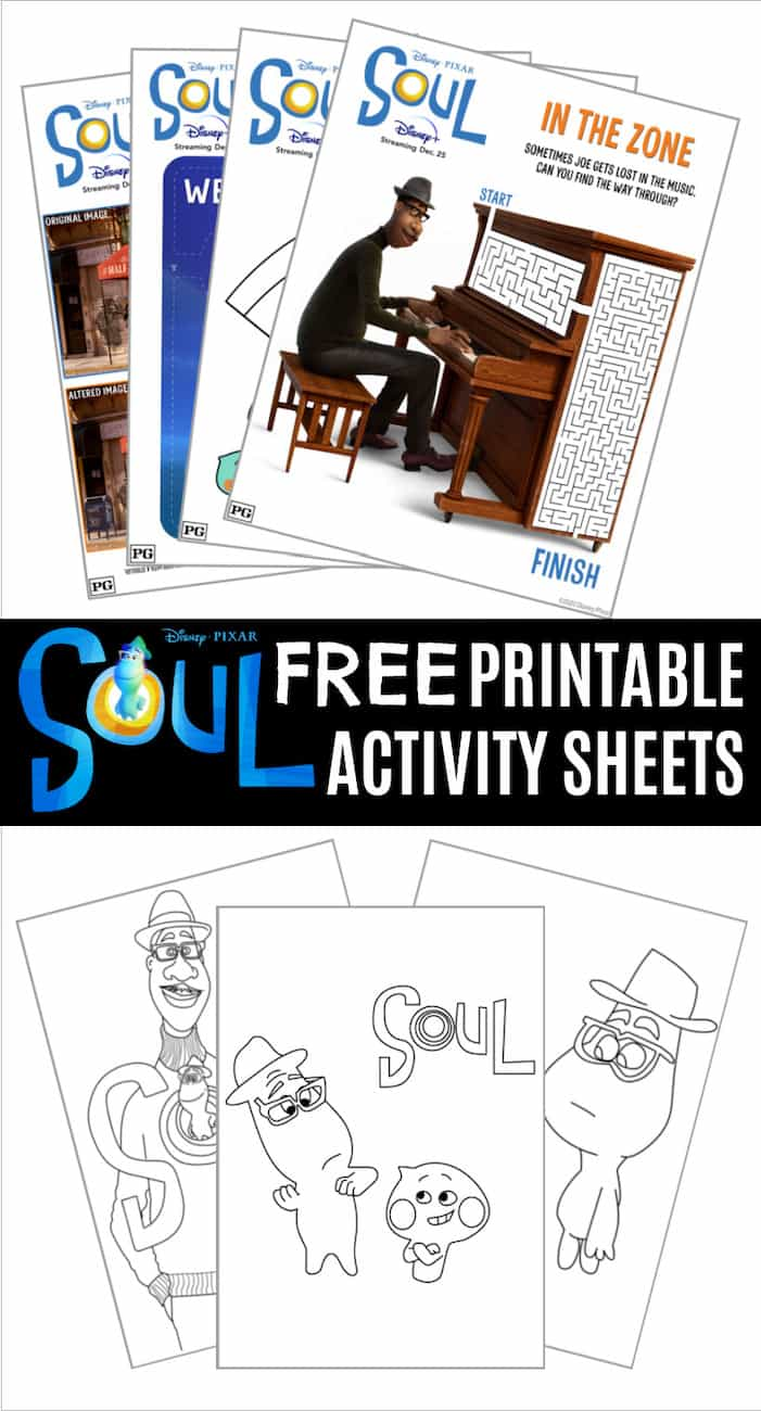 Soul printable activity pages and coloring sheets for Disney Pixar