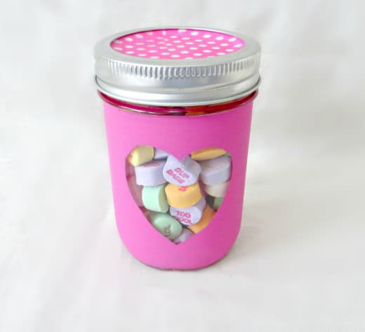teacher valentine gift, mason jar with heart cut out filled with valentine candy conversation hearts