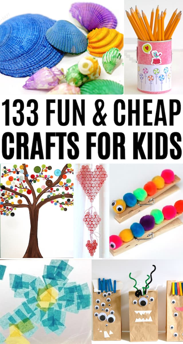 Cheap crafts for kids collage with painted seashells, decoupage, button art, clothespins, pom poms, pipe cleaners