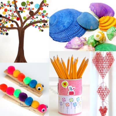 cheap crafts for kids with seashells, button crafts, pom poms, decoupage and pasta
