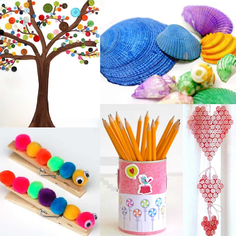 Easy and cheap crafts for kids with multicolored and various projects