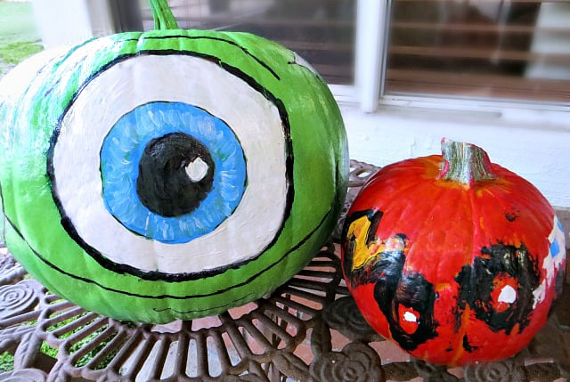 Mike Wazowski Pumpkin and lightning mcqueen pumpkin from Monsters ink and Cars