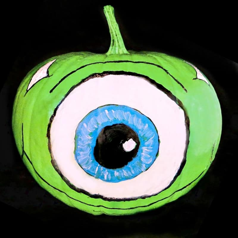 Mike Wazowski pumpkin for Halloween inspired by Monsters Inc and Monsters University