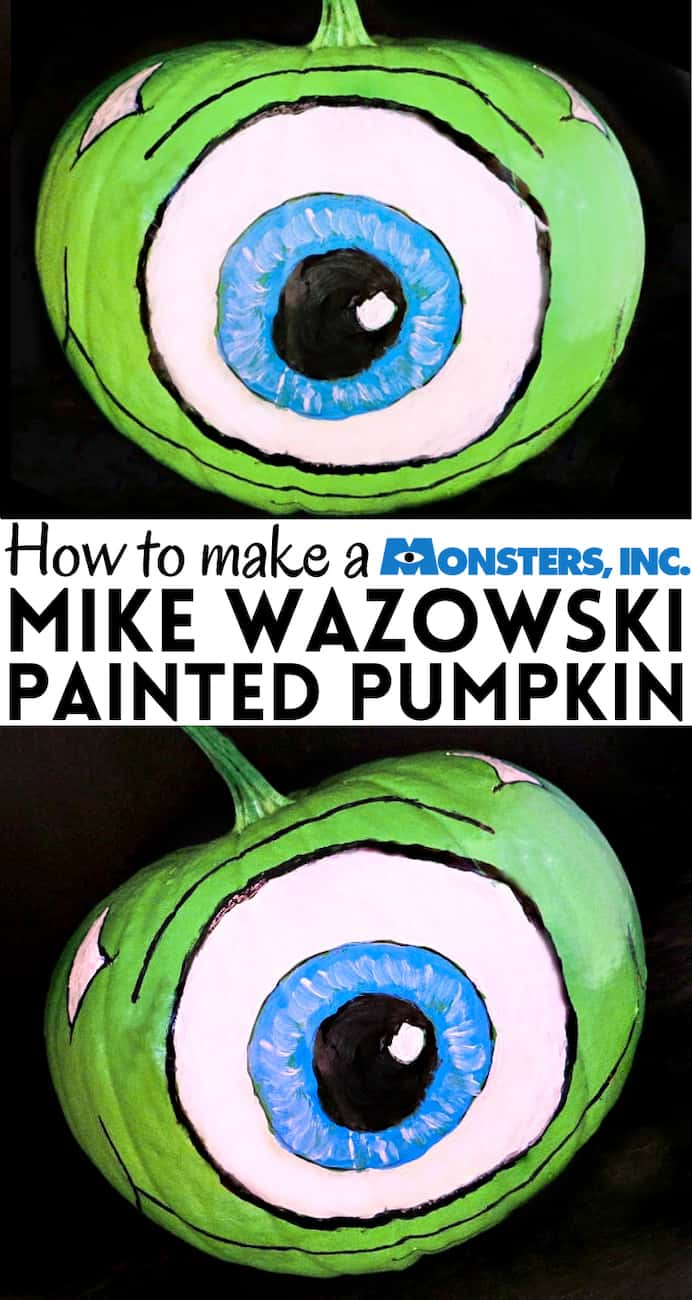 Mike Wazowski pumpkin painted - a Halloween pumpkin painted to look like a monster from Monsters Inc and Monsters University