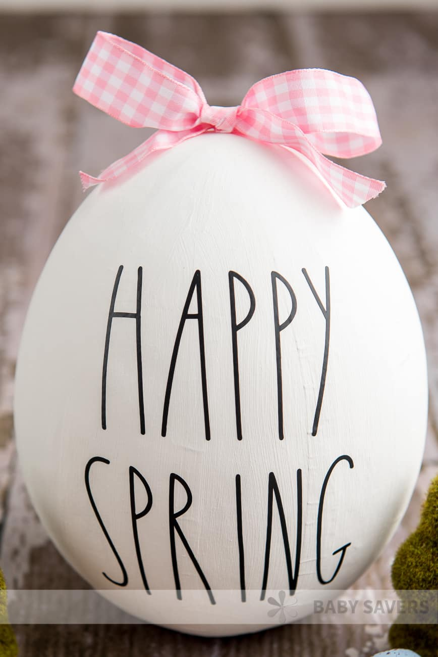 DIY Rae Dunn Easter Egg made with Cricut vinyl