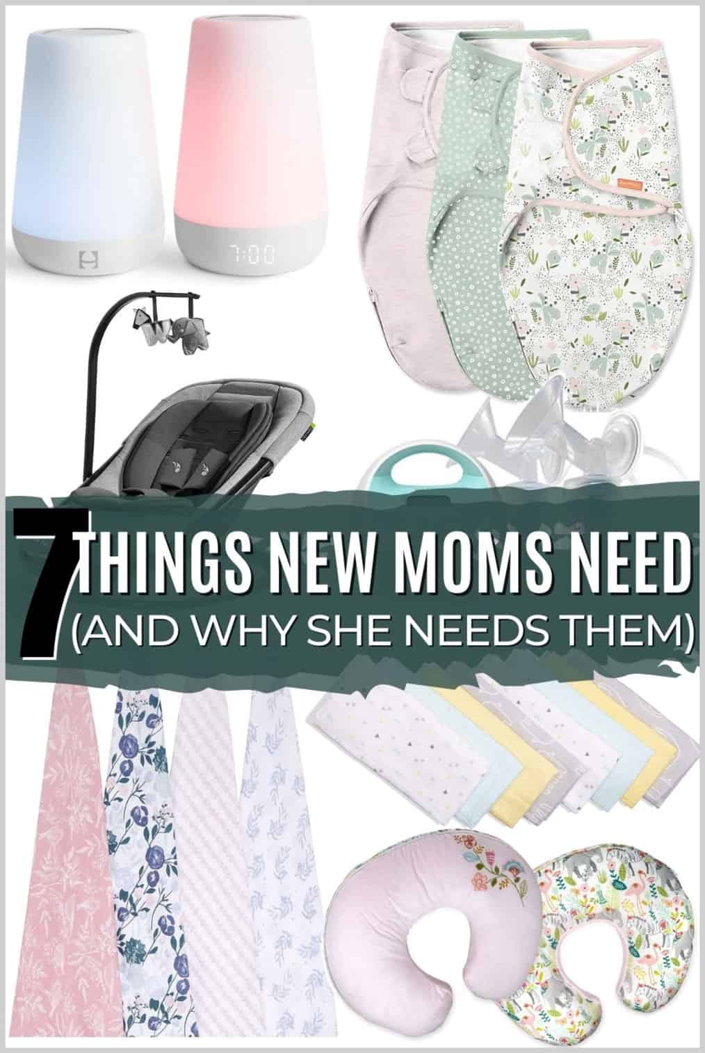 Things new moms need with swaddle blankets, baby chair, white noise machine, nursing pillows and burp cloths.