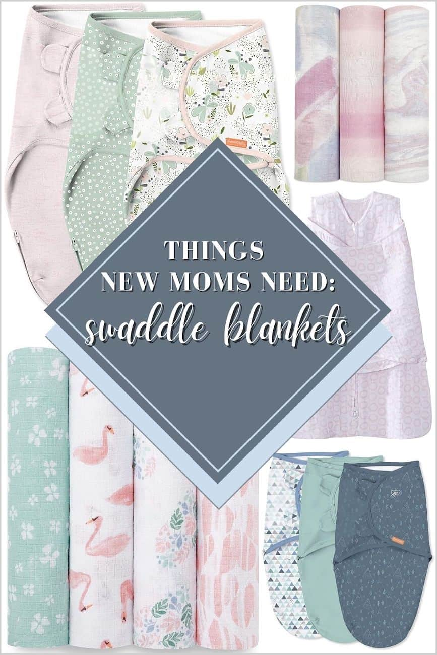 assorted swaddle blankets in shades of pink, grey and green are things mom needs for a new baby