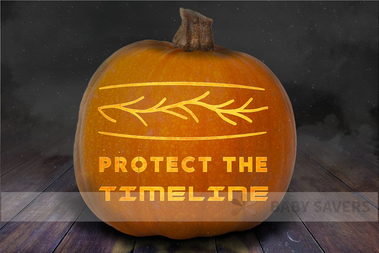 Loki pumpkin stencil with an image of the sacred timeline and text: protect the timeline carved into a pumpkin