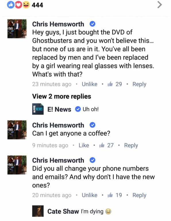 Ghostbusters Chris Hemsworth Questions