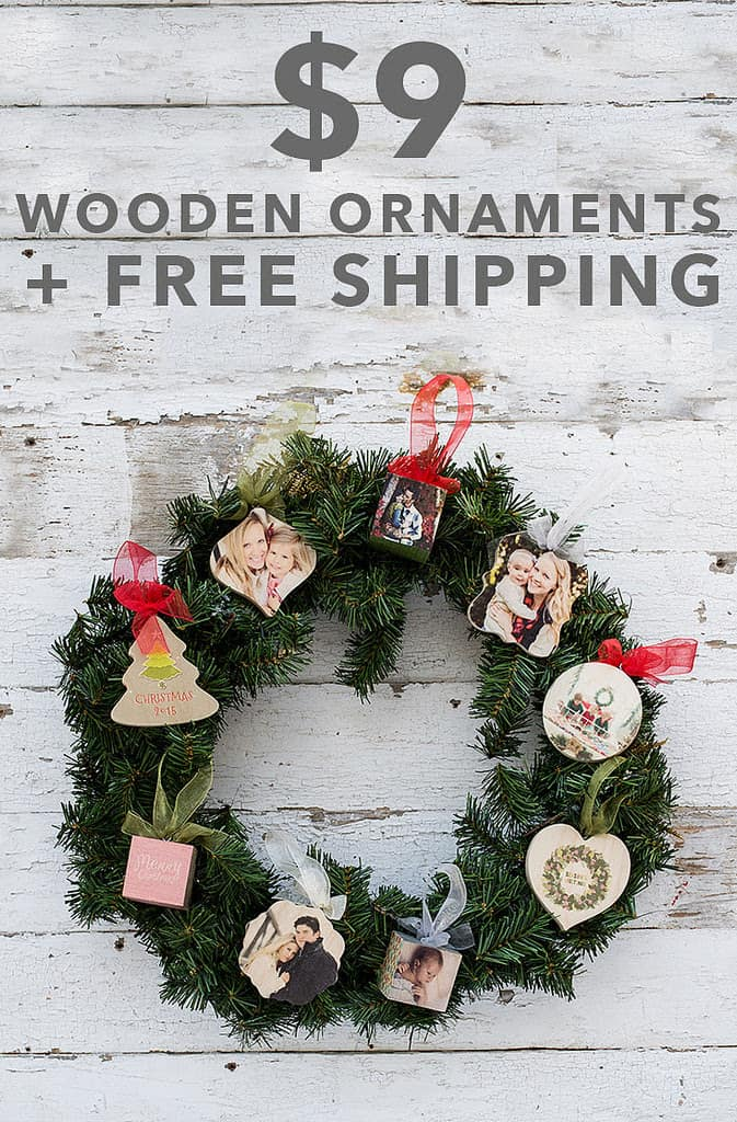 DIY wreath wooden photo ornament