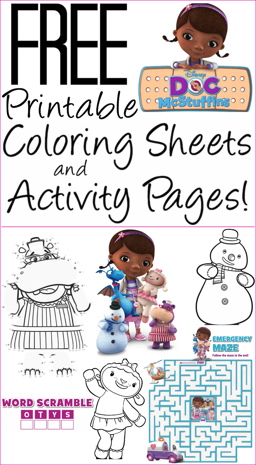 Free Doc McStuffins Coloring Pages, Activity Sheets: Print them Now!