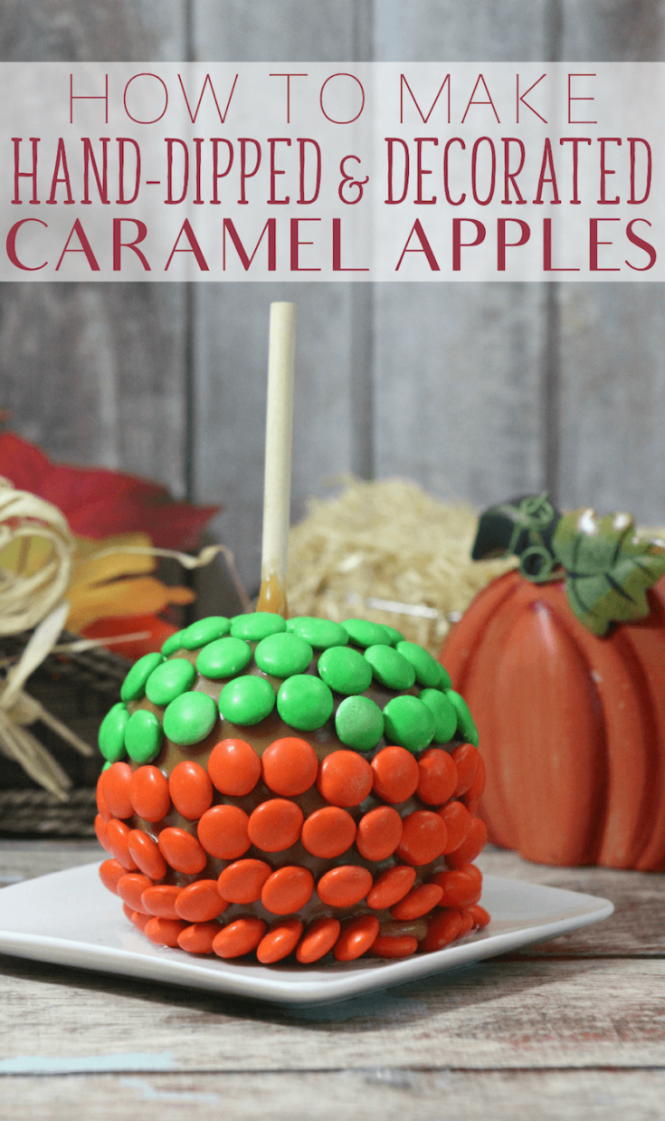 Easy caramel apples recipe without wrapped candy caramels. They're fun to make and delicious to eat! #caramelapples #applerecipe #applerecipes