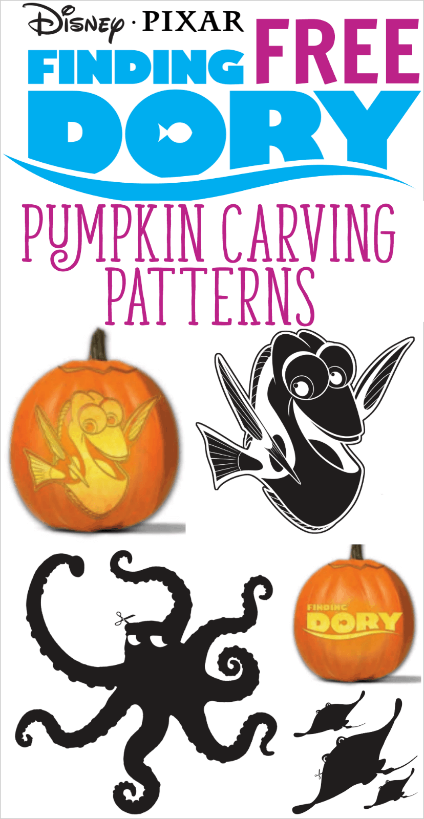Free printable Finding Dory pumpkin carving patterns
