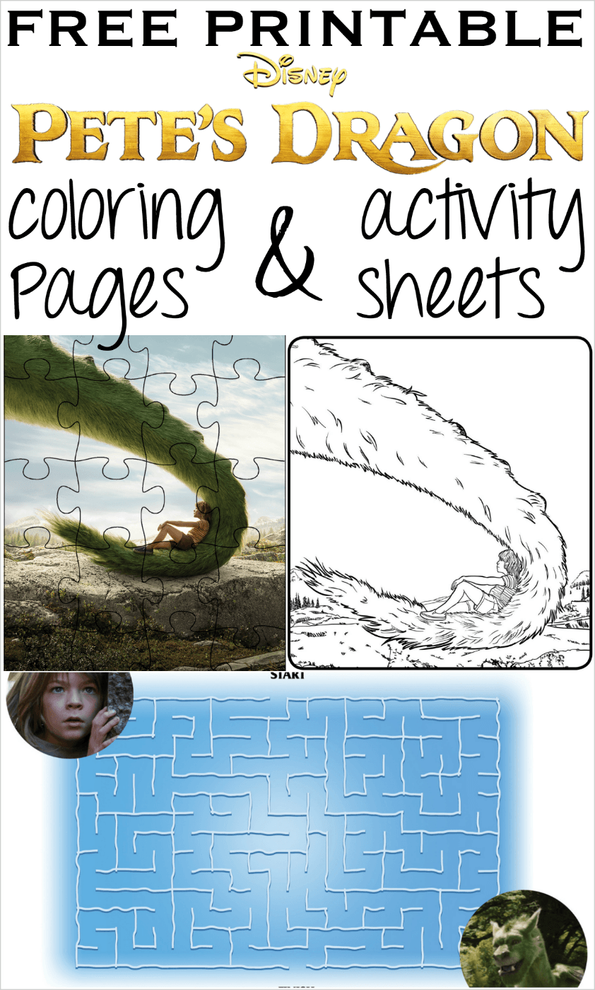 Pete's Dragon printable coloring pages activity sheets