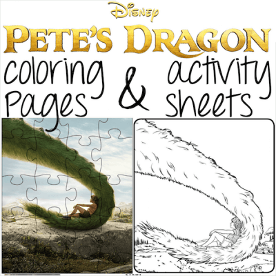 Pete's Dragon printable coloring sheets and activity pages