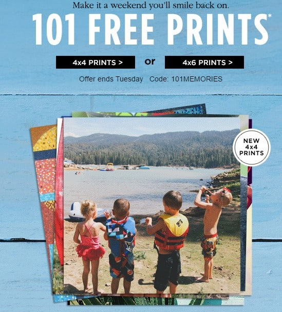 Be sure to grab this great deal at Shutterfly before it is gone. Today is the last day you can get FREE 4×6 or 4×4 Prints! Use code FREEGIFTS at checkout to get your prints.. This is a great time to print out some new spring photos.