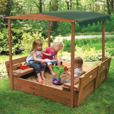 Save 32% on this Covered Convertible Cedar Sandbox with Canopy and Two Bench Seats, Free Shipping Eligible!