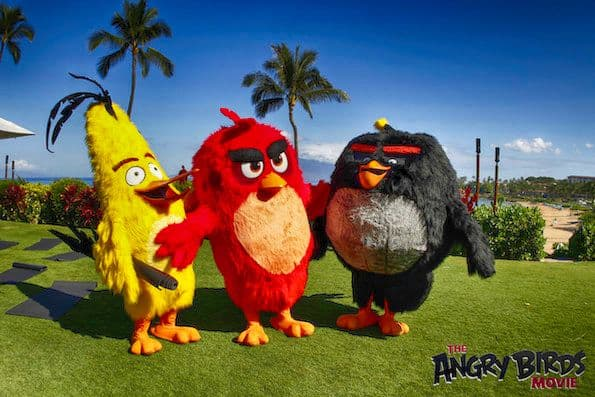 Yoga at The Four Seasons Resort Maui and Angry Birds Movie press junket red chuck bomb