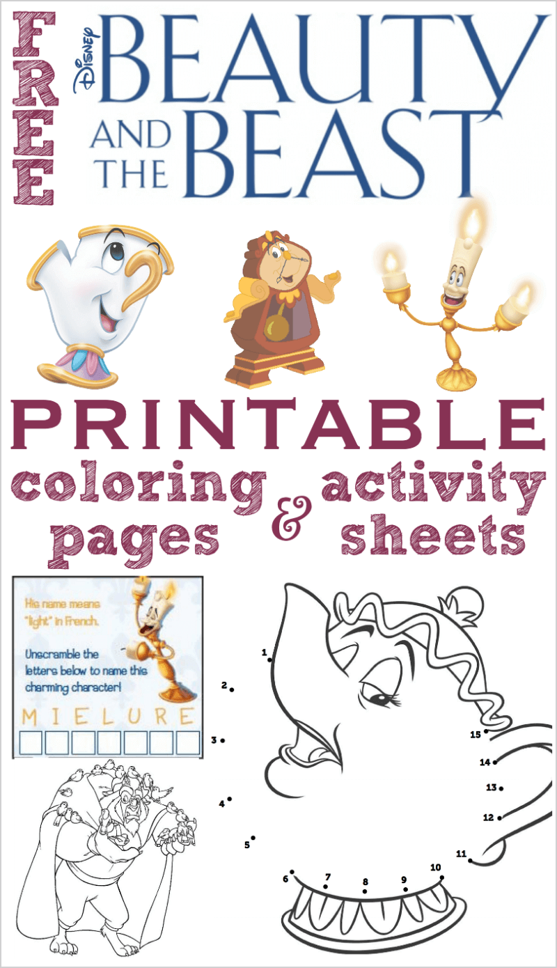 beauty and the beast coloring pages and activity sheets - Activity Pages Printable