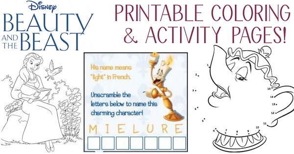 beauty and the beast printable coloring pages activity sheets